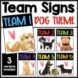 Team Signs Dog Puppy for Classroom Back to School Cooperat