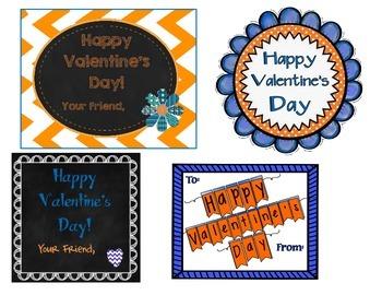 Team Spirit Blue/Orange Valentine's Day Tags/Cards