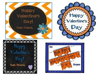 Team Spirit Blue/Orange Valentine's Day Tags/Cards