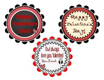 Team Spirit Red/Black Valentine's Day Tags/Cards