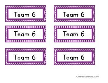 Team Table Desk Labels - FREEBIE!! - Color Coded Labels - Rectangular Polka Dot