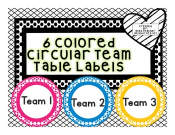 Team Table Desk Labels - FREEBIE!! - Color Coded Labels - Circular Polka Dot