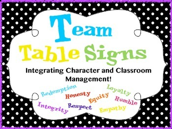 Team Signs for Character Building