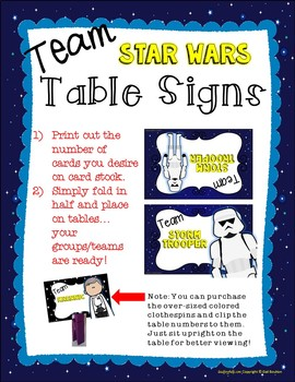 Team Table Signs (Star Wars Inspired)