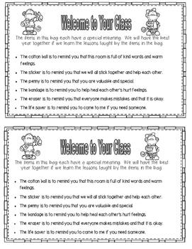 PDF School Theme Welcome Bags