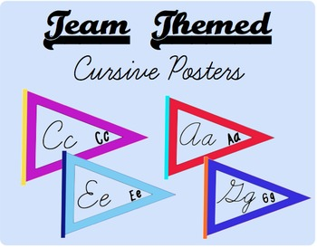 Team Themed Cursive Alphabet Posters for upper elementary classroom