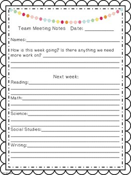 Team and Faculty Meeting Notes