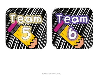 Team and Table Numbers - Black Scribbles with Brights!