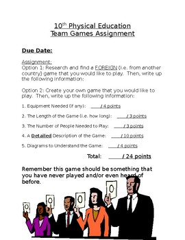Team games assessment