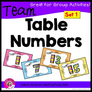 Team or Group Foldable Table Numbers 1-15!!