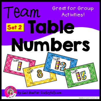Team or Group Foldable Table Numbers 1-15 (SET 2)