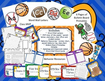 Team or Sports Theme Classroom Pack - EDITABLE FEATURES
