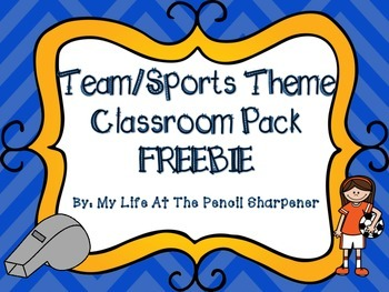 Team or Sports Theme Classroom Pack FREEBIE Stationary