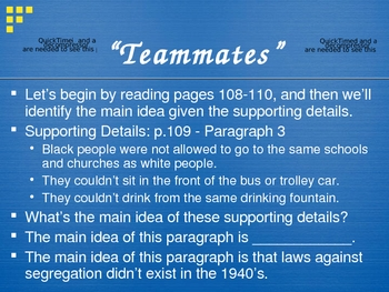 """Teammates"" - OCR - Main Idea and Supporting Details"