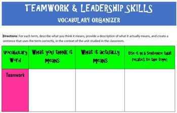 Teamwork & Leadership Vocabulary Organizer