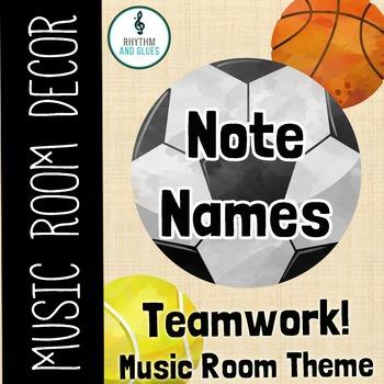 Teamwork Music Room Theme - Note Name, Rhythm and Glues