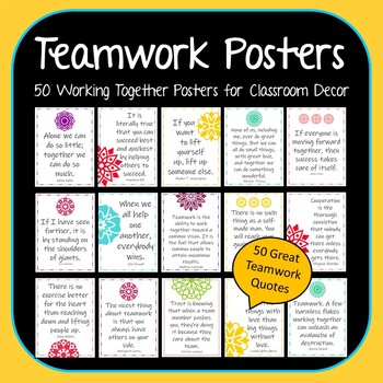 Teamwork Posters - 50 Great Inspirational Working Together Quotes for Classrooms