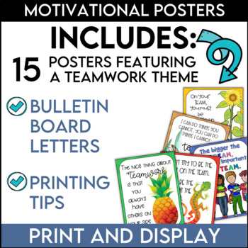 Teamwork Quotes Posters and Bonus Bulletin Board Set