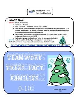 Teamwork Trees Fact Families 0-10: File Folder Game