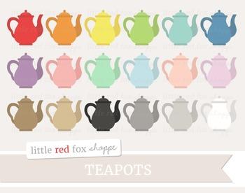 Teapot Clipart; Kitchen, Tea Pot, Drink, Tea Party