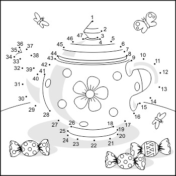 Connect the Dots and Coloring Page with Teapot, Commercial Use Allowed