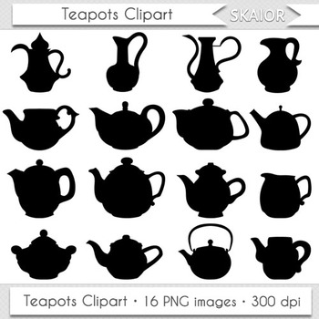 Teapots Clipart Tea Time Clip Art Silhouette Kitchen Appliances Scrapbooking