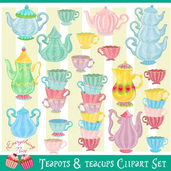 Teapots Tea Pots and Teacups Tea Cups Clipart Set