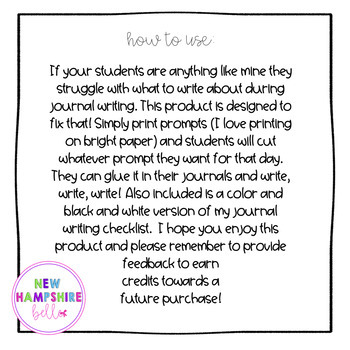 Tear and Write Journal Writing Prompts