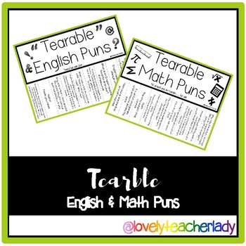 Tearable Math and English Puns - Combo Pack!