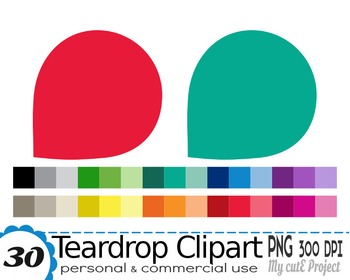 Teardrop Clipart  - 30 colors - 30 PNG files - scrapbookin