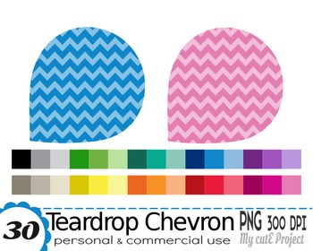 Teardrop Clipart Chevron pattern - 30 colors - 30 PNG files -scrapbooking - CA38