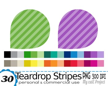 Teardrop Clipart Stripes pattern - 30 colors - 30 PNG file