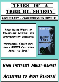 Tears of A Tiger Bundle of Comprehension and Vocabulary Activities