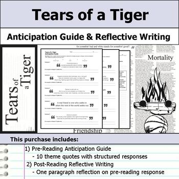 tears of a tiger anticipation guide reflection by s j brull tpt rh teacherspayteachers com Tears of a Tiger Quotes Tears of a Tiger Characters