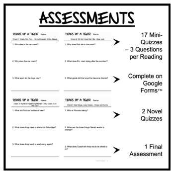 tears of a tiger assessment and exam by lit lessons tpt tears of a tiger assessment and exam