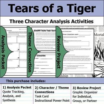 tears of a tiger character analysis packet theme connections rh teacherspayteachers com Tears of a Tiger Book Tears of a Tiger Quotes