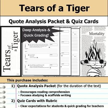 Tears of a Tiger - Quote Analysis & Reading Quizzes