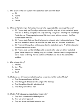 Tears of a Tiger Study Guide pages 1-88