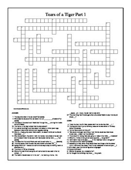 Tears of a Tiger by Sharon Draper Part 1 Crossword Puzzle