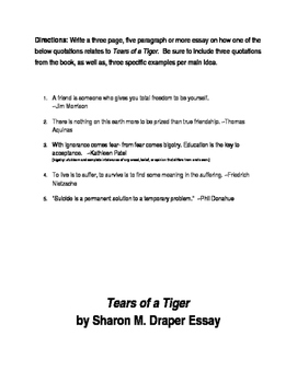 Tears of a Tiger by Sharon M. Draper Tests