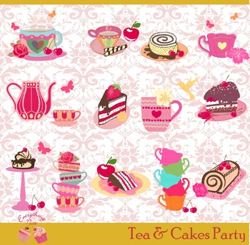 Teas Tea and Cakes Sweets Party Clipart Set