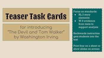 """Teaser Task Cards for Introducing """"The Devil and Tom Walker"""""""
