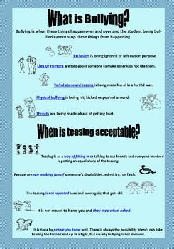 Poster:Teasing vs Bullying
