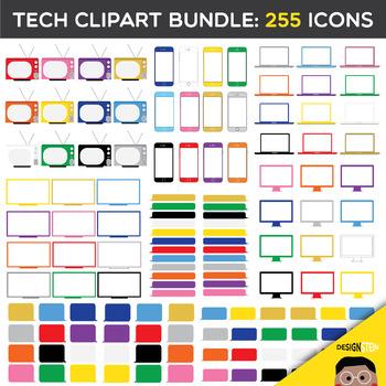 Tech Clip Art BUNDLE: 255 Icons