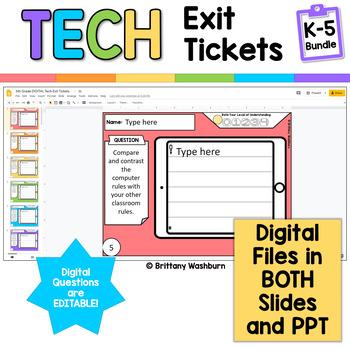 Tech Exit Tickets for Grades K-5 BUNDLE