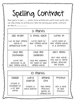 Tech Infused Spelling Contracts