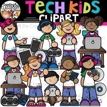 Tech Kids Clipart {Technology Kids Clipart}