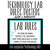 Tech Lab Rules Posters - Black & Turquoise