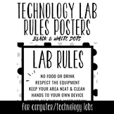 Tech Lab Rules Posters - Black & White Dots