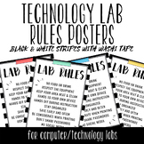 Tech Lab Rules Posters - Black & White Stripes w/ Washi